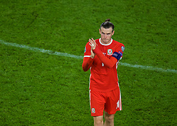 CARDIFF, WALES - Sunday, October 13, 2019: Wales captain Gareth Bale applauds the supporters after the UEFA Euro 2020 Qualifying Group E match between Wales and Croatia at the Cardiff City Stadium. The game ended in a 1-1 draw. (Pic by Paul Greenwood/Propaganda)