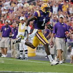 19 September 2009: LSU Tigers wide receiver Brandon LaFell (1) runs for a touchdown during a 31-3 win by the LSU Tigers over the University of Louisiana-Lafayette Ragin Cajuns at Tiger Stadium in Baton Rouge, Louisiana.