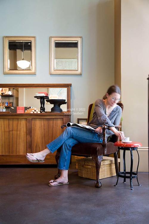 Customer Erin McKee of Portland enjoys a shot of the Rivoli drinking chocolate at Cacao