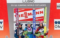 Second placed Sara Takanashi of Japan, Winner Sarah Hendrickson of USA and third placed Jacqueline Seifriedsberger of Austria celebrate during trophy ceremony after the Normal Hill Individual Competition at FIS World Cup Ski jumping Ladies Ljubno 2012, on February 12, 2012 in Ljubno ob Savinji, Slovenia. (Photo By Vid Ponikvar / Sportida.com)