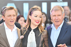 © Licensed to London News Pictures. 11/08/2011. London, England. Daniel Craig , Olivia Wilde and Harrison Ford attends the U.K premiere of Cowboys and Aliens Starring Harrison Ford and Daniel Craig at the O2 Cineworld London Photo credit : ALAN ROXBOROUGH/LNP