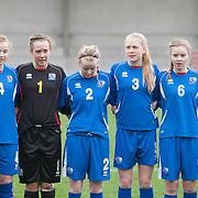 21120413 - IEPER, BELGIUM : Glódís Viggósdóttir (4), Berglind Jónasdóttir (1), Berglind Ágústsdóttir (2), Ella Thorarensen (3), Andrea Hauksdóttir (6), Lára Einarsdóttir (7)   from Iceland are pictured here  during the Second qualifying round of U17 Women Championship between England and Iceland on Friday April 13th, 2012 in Ieper, Belgium.