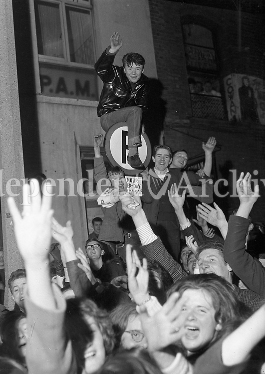 &quot;Amazing scenes were witnessed after the first show as 2,000 people emerged into the street...&quot;<br /> <br /> Excerpt from an Irish Independent article published on November 8 1963, the day after the Beatles show in the Adelphi Theatre, Dublin.<br /> <br /> (Part of the Independent Newspapers Ireland/NLI collection.)