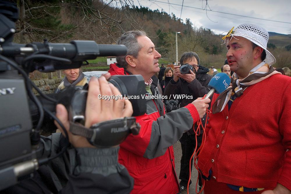 `La Vijanera´carnival,interview, pregnant, Silio, Molledo. Cantabria, Spain.