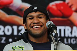 """Feb 23; St. Louis, MO, USA; Eloy Perez speaks during the final press conference for the February 25, 2012 fight card """"Arch Enemies"""".  Perez will face Adrien Broner in the co-feature.  Mandatory Credit: Ed Mulholland"""