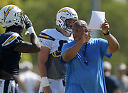 Aug 6, 2018; Costa Mesa, CA, USA: Los Angeles Chargers special teams coordinator George Stewart during training camp at the Jack. R. Hammett Sports Complex.