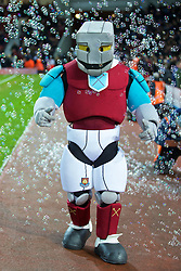 LONDON, ENGLAND - Tuesday, February 9, 2016: West Ham United's mascot Hammerhead walks through bubbles before the FA Cup 4th Round Replay match against Liverpool at Upton Park. (Pic by David Rawcliffe/Propaganda)