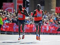 Stanley Biwott and Wilson Kipsang<br /> The Virgin Money London Marathon 2014<br /> 13 April 2014<br /> Photo: Javier Garcia/Virgin Money London Marathon<br /> media@london-marathon.co.uk