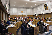It's a full house during the planning application meeting to redevelop the Plough Lane site into a new 20,000 all seater stadium for AFC Wimbledon at Merton Civic Centre, Morden, United Kingdom on 10 December 2015. Photo by Stuart Butcher. The joint application is lodged by Galliard Homes and AFC Wimbledon.