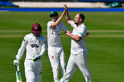 Wicket - Joe Leach of Worcestershire celebrates taking the wicket of Eddie Byrom of Somerset during the Specsavers County Champ Div 1 match between Somerset County Cricket Club and Worcestershire County Cricket Club at the Cooper Associates County Ground, Taunton, United Kingdom on 20 April 2018. Picture by Graham Hunt.