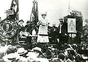Rosa Luxemburg (1871-1919)  Polish-born German revolutionary and political agitator, addressing a meeting after the Second International Social Democrativ Congress, Stuttgart, 1907. Founder member with Karl Liebknecht of the KPD, the German Communist Party.