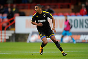 Kwesi Appiah (9) of AFC Wimbledon during the Pre-Season Friendly match between Aldershot Town and AFC Wimbledon at the EBB Stadium, Aldershot, England on 28 July 2017. Photo by Graham Hunt.