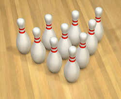 Bird's-eye view of 10 pins on reflective Bowling Lane floor