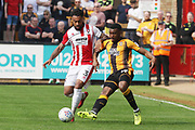 Jordan Cranston and David Amoo during the EFL Sky Bet League 2 match between Cambridge United and Cheltenham Town at the Cambs Glass Stadium, Cambridge, England on 21 April 2018. Picture by Antony Thompson.