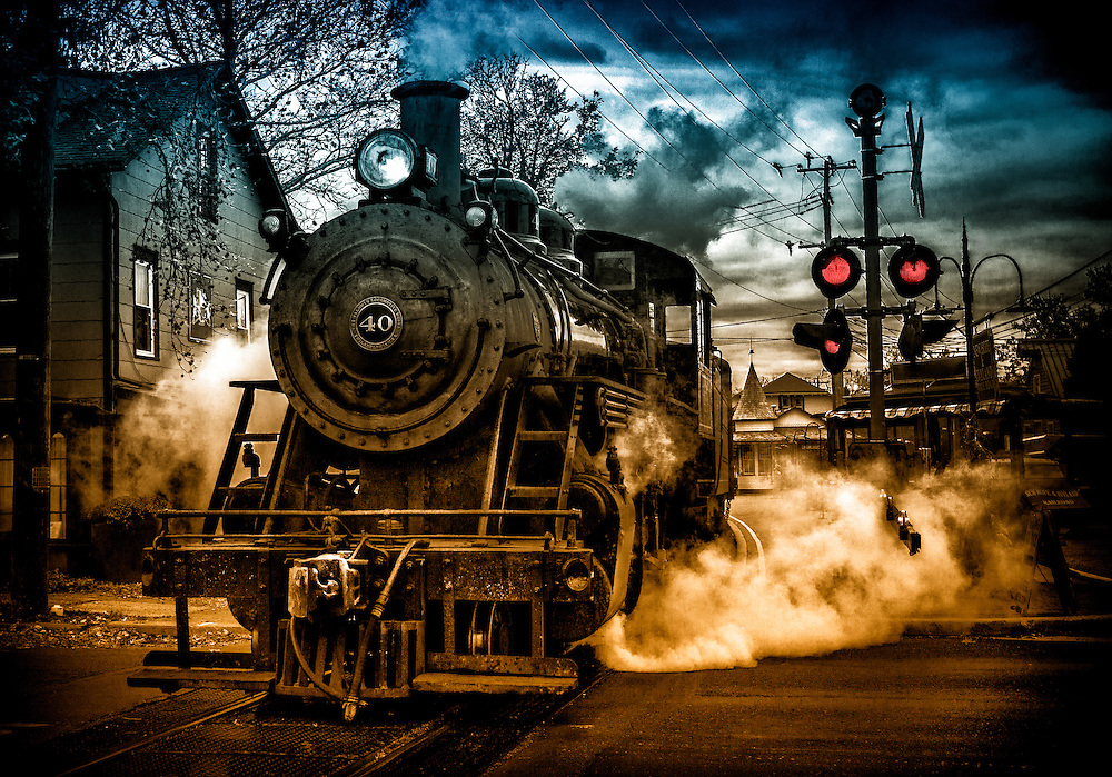 The New Hope & Ivyland Railroad takes its last run for the day. New Hope, Pennsylvania.