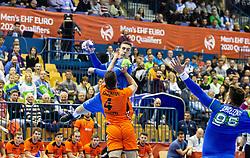 Nik Henigman of Slovenia vs Evert Kooijman of Netherlands during handball match between National teams of Slovenia and Netherlands in Qualifications of 2020 Men's EHF EURO, on April 14, 2019, in Arena Zlatorog, Celje, Slovenia. Photo by Vid Ponikvar / Sportida