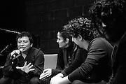 Mardonio Carballo, Lydia Cacho, Alonso Arreola, and Jose Maria Arreola in a conversation about the book/record Las Horas Perdidas.