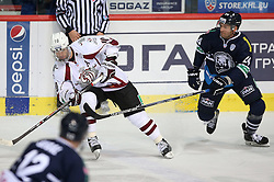 03.10.2014, Dom Sportova, Zagreb, CRO, KHL League, Medvescak vs Dinamo Riga, 13. Runde, im Bild Lauris Darzins, Andrew Hutchinson // during the Kontinental Hockey League 13th round match between Medvescak and Dinamo Riga at the Dom Sportova in Zagreb, Croatia on 2014/10/03. EXPA Pictures © 2014, PhotoCredit: EXPA/ Pixsell/ Igor Kralj<br /> <br /> *****ATTENTION - for AUT, SLO, SUI, SWE, ITA, FRA only*****
