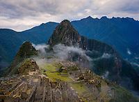 MACHU PICCHU, PERU - CIRCA SEPTEMBER 2019:  View of Machu Picchu in Peru.