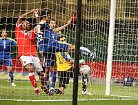Photo: Rich Eaton.<br /> <br /> Wales v Cyprus. UEFA European Championships 2008 Qualifying. 11/10/2006. Robert Earnshaw far left of Wales celebrates the goal of Jason Koumas