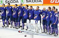 Joie Cristobal Huet / Antoine Roussel / Laurent Meunier - 12.05.2015 - Lettonie / France - Championnats du Monde Hockey sur Glace -Prague<br /> Photo : Xavier Laine / Icon Sport