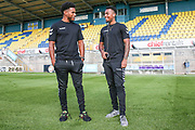Forest Green Rovers Reuben Reid(26) and Forest Green Rovers Tahvon Campbell(14) inspect the pitch during the Pre-Season Friendly match between Torquay United and Forest Green Rovers at Plainmoor, Torquay, England on 10 July 2018. Picture by Shane Healey.