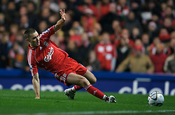 LONDON, ENGLAND - Wednesday, December 19, 2007: Liverpool's Fabio Aurelio in action against Chelsea during the League Cup Quarter Final match at Stamford Bridge. (Photo by David Rawcliffe/Propaganda)