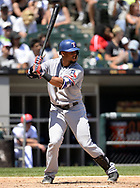 CHICAGO - JULY 02:  Carlos Gomez #14 of the Texas Rangers bats against the Chicago White Sox on July 2, 2017 at Guaranteed Rate Field in Chicago, Illinois.  The White Sox defeated the Rangers 6-5.  (Photo by Ron Vesely) Subject:   Carlos Gomez