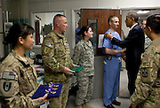 01.MAY.2012. BAGRAM<br /> <br /> PRESIDENT BARACK OBAMA GREETS HOSPITAL PERSONNEL IN THE ICU AT BAGRAM AIR FIELD, AFGHANISTAN, MAY 1, 2012. THE PRESIDENT PRESENTED TEN PURPLE HEARTS, THREE IN THE ICU.  <br /> <br /> BYLINE: EDBIMAGEARCHIVE.CO.UK<br /> <br /> *THIS IMAGE IS STRICTLY FOR UK NEWSPAPERS AND MAGAZINES ONLY*<br /> *FOR WORLD WIDE SALES AND WEB USE PLEASE CONTACT EDBIMAGEARCHIVE - 0208 954 5968*