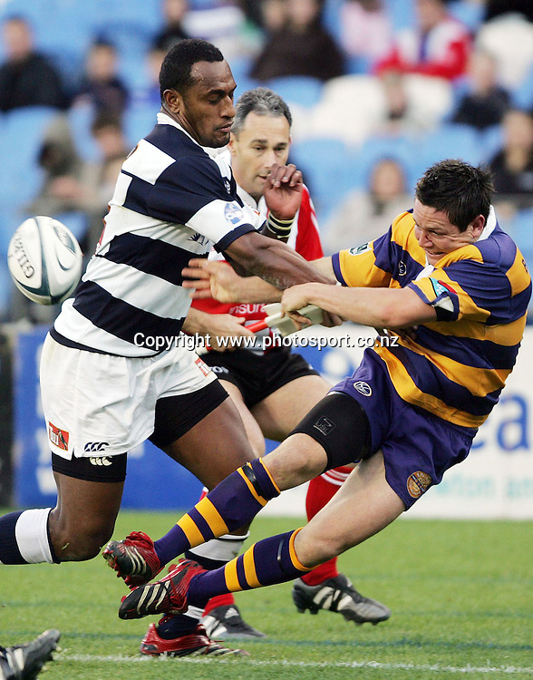 Mike Delany loses the ball over the sideline during the Air NZ Cup rugby match between Auckland and Bay of Plenty at Eden Park, Auckland, New Zealand on 7 October, 2006. Auckland won the match 47 - 14. Photo: Hannah Johnston/PHOTOSPORT<br /> <br /> <br /> <br /> <br /> 071006