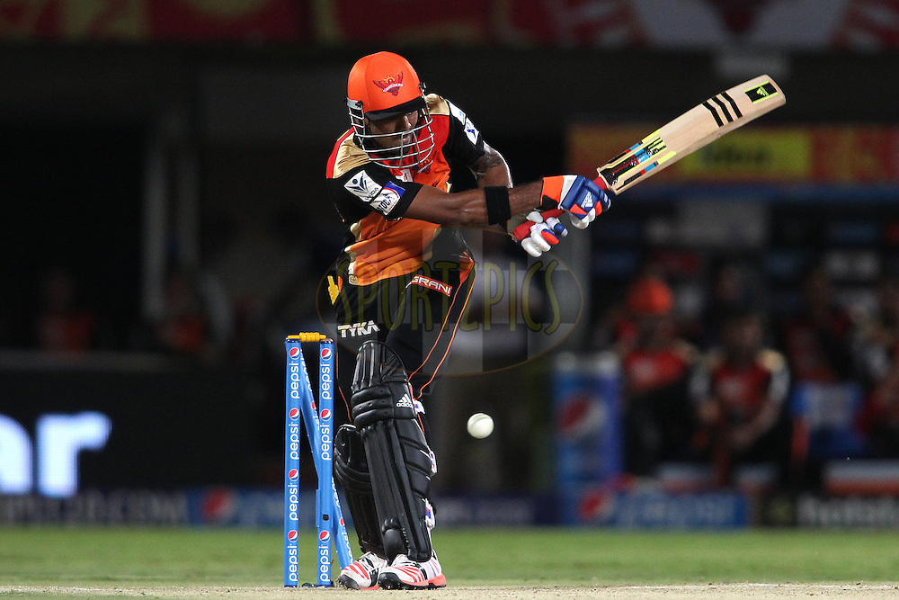 KL Rahul of Sunrisers Hyderabad is bowled by Angelo Mathews of the Delhi Daredevils during match 13 of the Pepsi IPL 2015 (Indian Premier League) between Sunrisers Hyderabad and Delhi Daredevild held at the ACA-VDCA Stadium in Visakhapatnam India on the 18th April 2015.<br /> <br /> Photo by:  Shaun Roy / SPORTZPICS / IPL