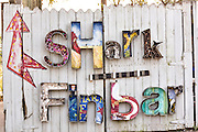 Shark Fin Bar sign at Shem Creek in Mount Pleasant, South Carolina.