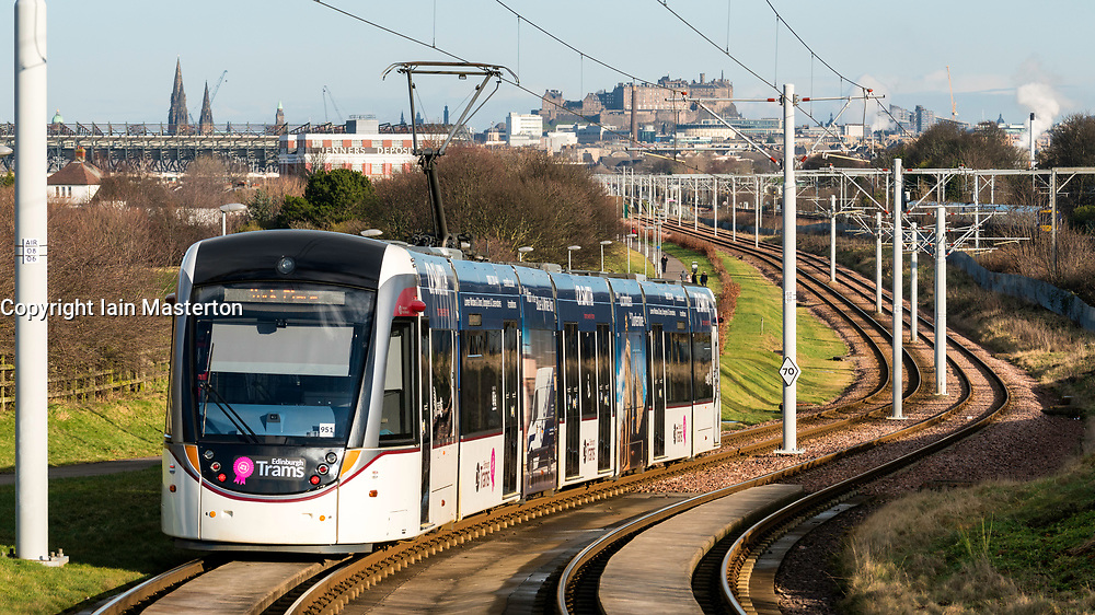 View of Edinburgh Tram linking Edinburgh Airport with the city centre, Scotland, United Kingdom