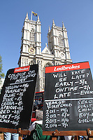 Bookmaker Bets Westminster Abbey Royal Wedding, London, UK, 27 April 2011:  Contact: Rich@Piqtured.com +44(0)791 626 2580 (Picture by Richard Goldschmidt)