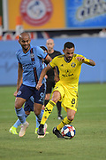 Heber of New York City FC and Artur of Columbus Crew SC goes after the ball during a MLS soccer match, Wednesday, Aug. 21, 2019, in New York (Errol Anderson/Image of Sport)