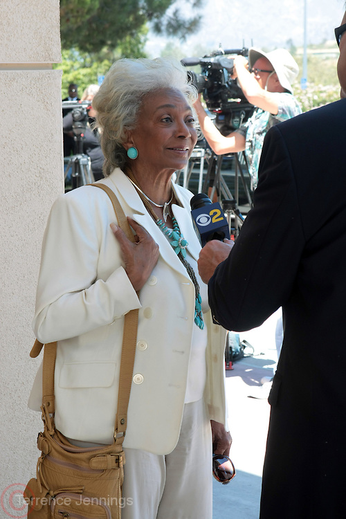 June 30, 2012, Los Angeles, CA: Actress Nichelle Nichols attends the Rodney King Funeral held at Forest Lawn Cemetery at Hall Liberty on June 30, 2012 in Los Angeles, California. Rodney Glen King was an American construction worker who became well known after being beaten harshly by Los Angeles police officers during a traffic stop on 3 March 1991. The non-gulity verdict of accused Police Officers ignited the LA Riots in 1992. (Photo by Terrence Jennings)