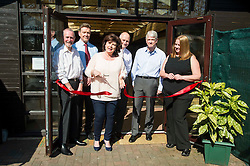 Elaine C Smith was on hand today to cut the ribbon on the Alcohol Related Brain Damage Unit run by voluntary organisation Penumbra in partnership with NHS Lothian and City of Edinburgh Council.  Ms Smith was joined at the ribbon cutting ceremony by Joe Boye, ex-resident, Graham Henderson; director of services and development; Peter Grabbitas; Chiar health and saefet at City of Edinburgh Council; and Brian Houston, Chair of NHS Lothian. Edinburgh 23 April 2015  Ger Harley, StockPix.eu