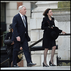 Conrad Black and his wife Barbara Amiel attend Lady Thatcher's funeral at St Paul's Cathedral following her death last week, London, UK, Wednesday 17 April, 2013, Photo by: Andrew Parsons / i-Images