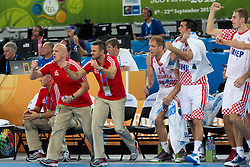 Players of Croatia celebrate during basketball match between national team of Croatia and Italy of Eurobasket 2013 on September 14, 2013 in SRC Stozice, Ljubljana, Slovenia. (Photo By Matic Klansek Velej / Sportida.com)