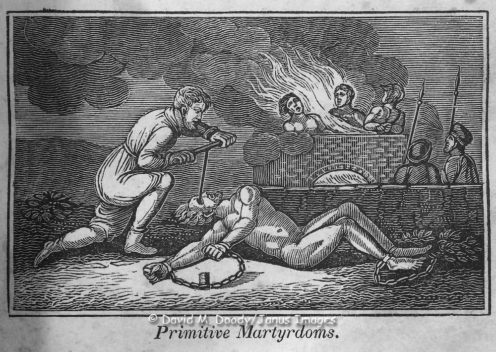 "Vintage Woodcut Illustration from: ""Book of Martyrs"" Primitive Martyrdoms. Execution and torture by burning and gouging of eyes."