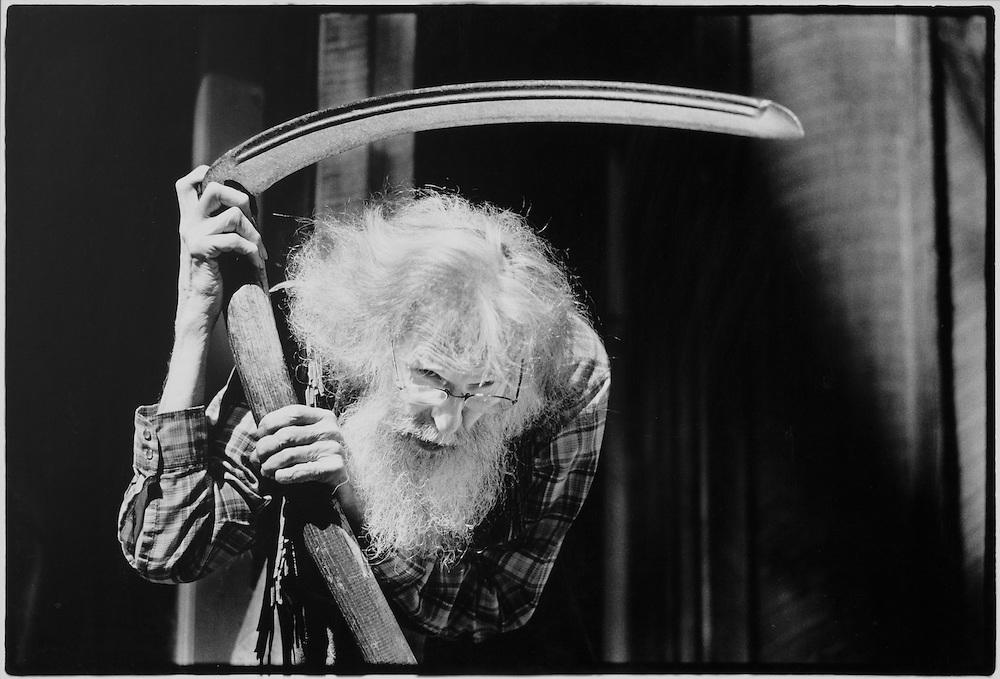 William Everson as Grim Reaper with scythe, Kingfisher Flat, Santa Cruz Mountains