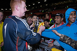 Manchester, England - Thursday, April 26, 2007: Liverpool's goalkeeper David Roberts celebrates winning the FA Youth Cup for the second successive year after beating Manchester United on penalties during the FA Youth Cup Final 2nd Leg at Old Trafford. (Pic by David Rawcliffe/Propaganda)