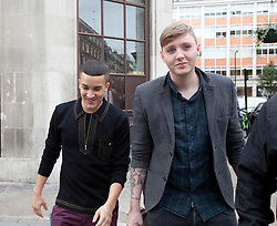 © Licensed to London News Pictures. 09/10/2012. London, U.K. X FACTOR finalists Jahmene Douglas (l) & James Arthur (r ),leaving the Radio 1 building on great portland street today (09/10/2012) after an interview with Sarah Jane Crawford...Photo credit : Rich Bowen/LNP