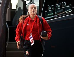SOUTHAMPTON, ENGLAND - Friday, April 6, 2018: Wales' Natasha Harding arrives before the FIFA Women's World Cup 2019 Qualifying Round Group 1 match between England and Wales at St. Mary's Stadium. (Pic by David Rawcliffe/Propaganda)