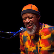 """February 8, 2014 - Brooklyn, NY :<br /> 'New Age music' artist Laraaji  performs in """"Fun with Sound and Laughter"""" at Roulette, in Brooklyn, on Saturday afternoon.<br /> CREDIT: Karsten Moran for the New York Times"""