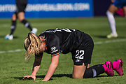 Erin Cuthbert (Chelsea) floored during the FA Women's Super League match between Brighton and Hove Albion Women and Chelsea at The People's Pension Stadium, Crawley, England on 15 September 2019.