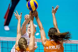 23-08-2017 NED: World Qualifications Belgium - Netherlands, Rotterdam<br /> De Nederlandse volleybalsters hebben op het WK-kwalificatietoernooi ook hun tweede duel in winst omgezet. Oranje overklaste Belgi&euml; en won met 3-0 (25-18, 25-18, 25-22). Eerder werd Griekenland ook al met 3-0 verslagen / Lise Van Hecke #10 of Belgium