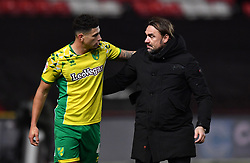 Norwich City's Ben Godfrey and Norwich City manager Daniel Farke during the Sky Bet Championship match at Ashton Gate, Bristol.
