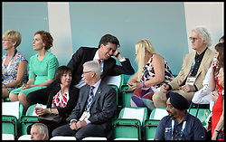 Image licensed to i-Images Picture Agency. 23/07/2014. Glasgow, United Kingdom. Ed Miliband talks to Billy Connolly's wife Pamela Stephenson (left) join The Queen with The Duke of Edinburgh during the opening ceremony of  the Commonwealth Games in Glasgow.. Picture by Andrew Parsons / i-Images