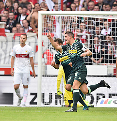 26.09.2015, Mercedes Benz Arena, Stuttgart, GER, 1. FBL, VfB Stuttgart vs Borussia Moenchengladbach, 7. Runde, im Bild TOR zum 0:1 durch Granit Xhaka Borussia Moenchengladbach // during the German Bundesliga 7th round match between VfB Stuttgart and Borussia Moenchengladbach at the Mercedes Benz Arena in Stuttgart, Germany on 2015/09/26. EXPA Pictures © 2015, PhotoCredit: EXPA/ Eibner-Pressefoto/ Weber<br /> <br /> *****ATTENTION - OUT of GER*****